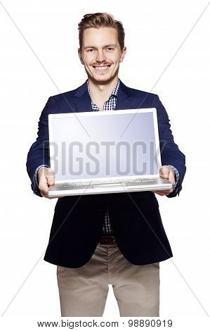 Businessman Giving  His Laptop