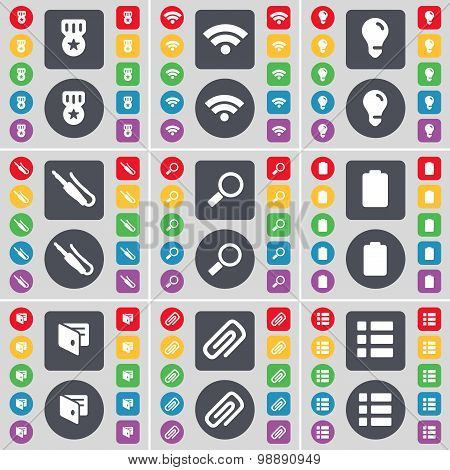 Medal, Wi-fi, Light Bulb, Microphone Connector, Magnifying Glass, Battery, Wallet, Clip, List Icon S