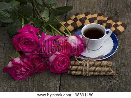 Beautiful Festive Still Life From Flowers, Cookies And Coffee