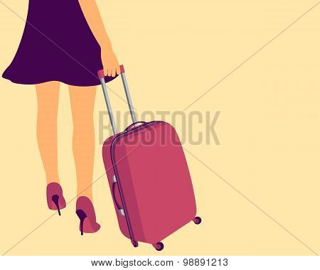 Girl with a suitcase for travel. Concept of freedom. Vector illustration