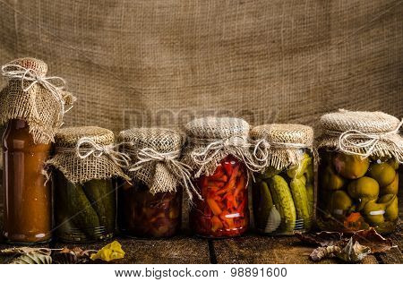Cooked Vegetables, Pickles, Homemade Ketchup