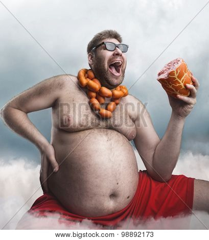 Mad man with sausages