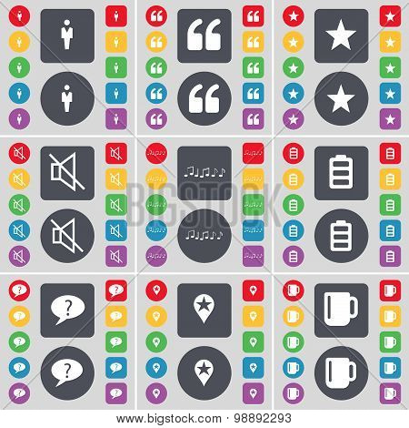 Silhouette, Quotation Mark, Star, Mute, Note, Battery, Chat Bubble, Checkpoint, Cup Icon Symbol. A L