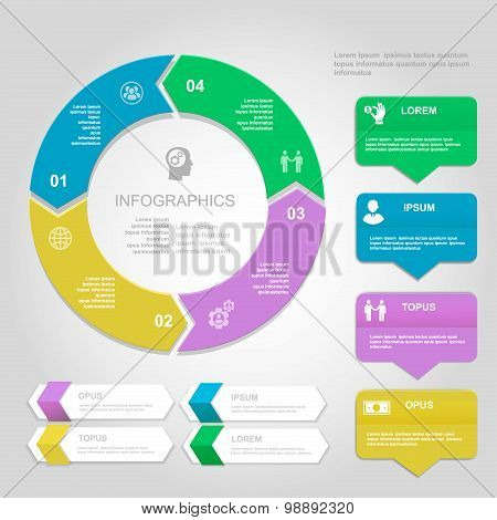 Infographics Design template. Numbered banners, horizontal cutout lines and circle color  infographi