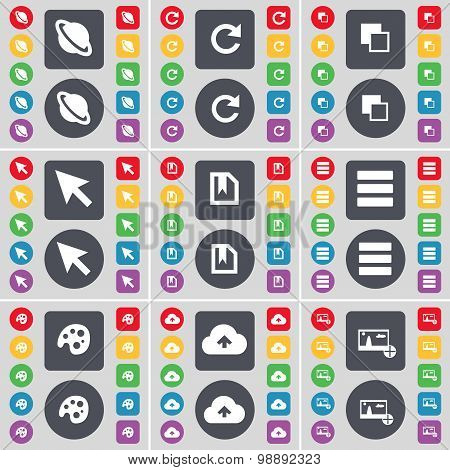 Planet, Reload, Copy, Cursor, File, Apps, Palette, Cloud, Picture Icon Symbol. A Large Set Of Flat,