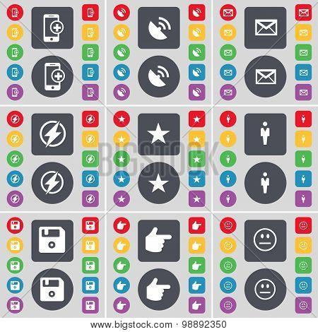 Smartphone, Satellite Dish, Message, Flash, Star, Silhouette, Floppy, Hand, Smile Icon Symbol. A Lar