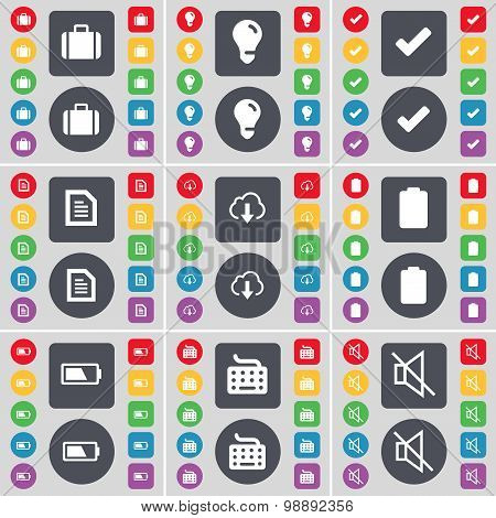 Suitcase, Light Bulb, Tick, Text File, Cloud, Battery, Keyboard, Mute Icon Symbol. A Large Set Of Fl