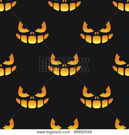 Halloween Grin And Eyes Seamless Pattern