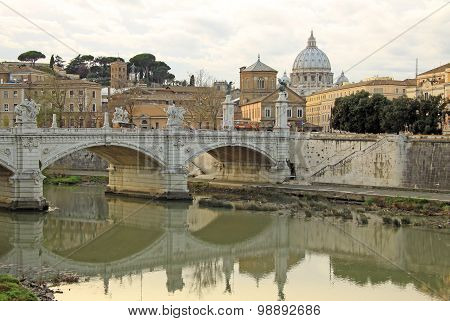 View on Papal Basilica of St. Peter in the Vatican from Tiber