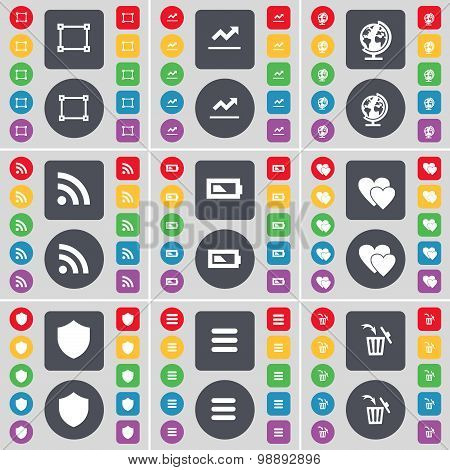 Frame, Graph, Globe, Rss, Battery, Heart, Badge, Apps, Trash Can Icon Symbol. A Large Set Of Flat, C