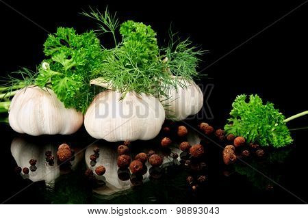 Dill Leaves,garlic,pepper And Allspice On Black Background