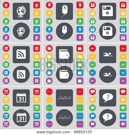 Globe, Mouse, Floppy, Rss, Wallet, Swimmer, Calendar, Note, Chat Bubble Icon Symbol. A Large Set Of