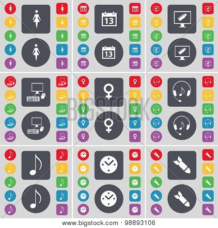 Silhouette, Calendar, Monitor, Pc, Venus Symbol, Headphones, Note, Clock, Rocket Icon Symbol. A Larg