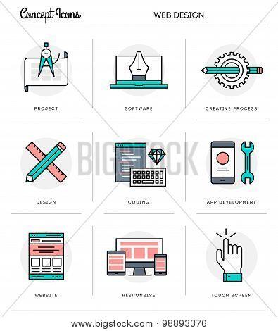 Concept Icons, Web Design, Flat Thin Line Design