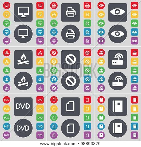 Monitor, Printer, Vision, Campfire, Stop, Router, Dvd, File, Notebook Icon Symbol. A Large Set Of Fl