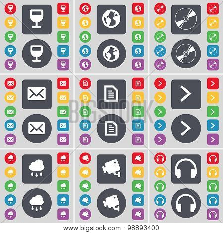 Wineglass, Earth, Disk, Message, Text File, Arrow Right, Cloud, Cctv, Headphones Icon Symbol. A Larg