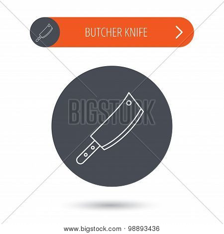 Butcher knife icon. Kitchen chef tool sign.