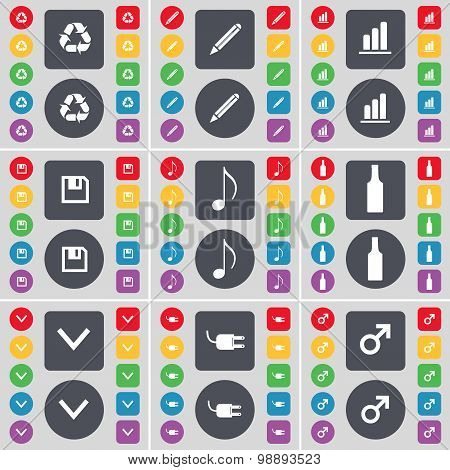 Recycling, Pencil, Diagram, Floppy, Note, Bottle, Arrow Down, Socket, Mars Symbol Icon Symbol. A Lar