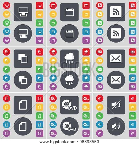 Monitor, Calandar, Rss, Copy, Cloud, Message, File, Dvd, Mute Icon Symbol. A Large Set Of Flat, Colo