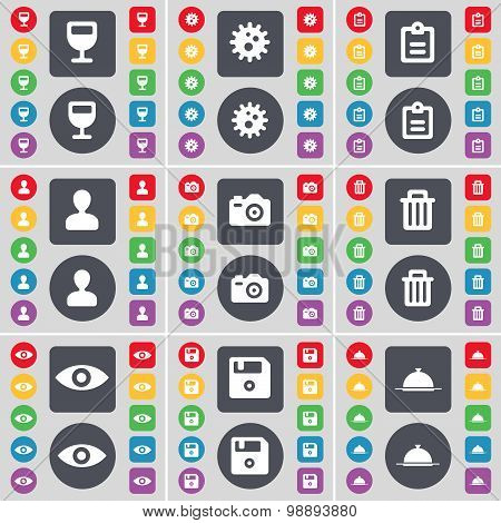 Wineglass, Gear, Survey, Avatar, Camera, Trash Can, Vision, Floppy, Tray Icon Symbol. A Large Set Of