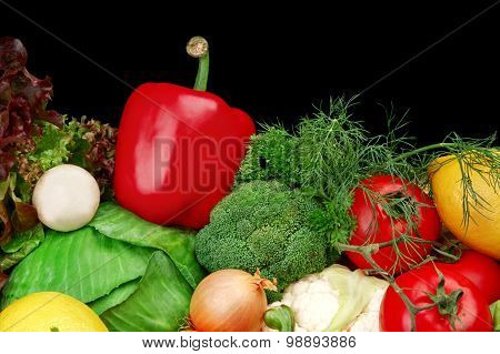 Group Of Different Vegetables On Black