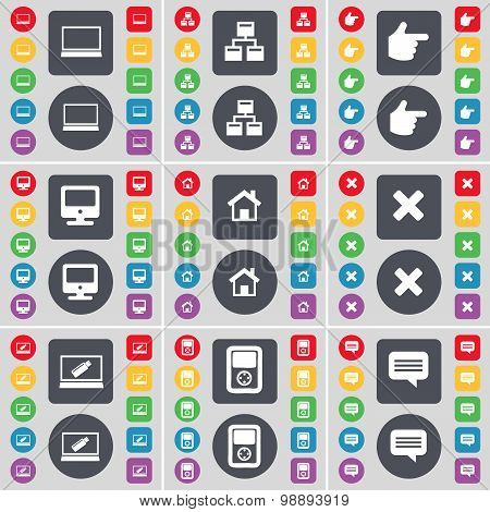 Laptop, Network, Hand, Monitor, House, Stop, Laptop, Player, Chat Bubble Icon Symbol. A Large Set Of