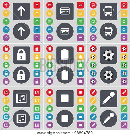 Arrow Up, Credit Card, Bus, Lock, Battery, Ball, Music Window, Media Stop, Microphone Icon Symbol. A