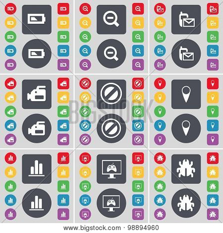Battery, Minus, Sms, Film Camera, Stop, Checkpoint, Diagram, Monitor, Bug Icon Symbol. A Large Set O
