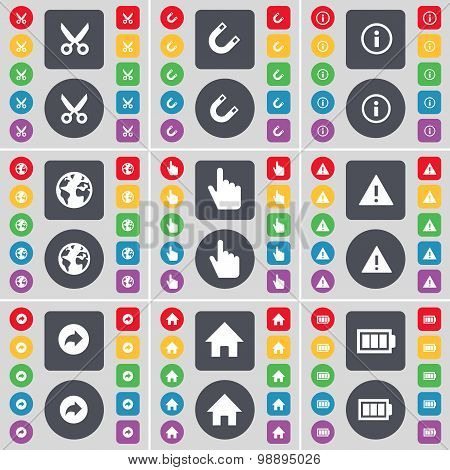 Scooter, Magnet, Information, Earth, Hand, Warning, Back, House, Battery Icon Symbol. A Large Set Of