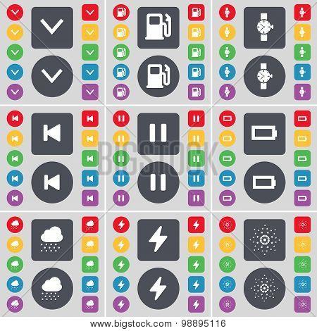 Arrow Down, Gas Station, Wrist Watch, Media Skip, Pause, Battery, Cloudd, Flash, Star Icon Symbol. A