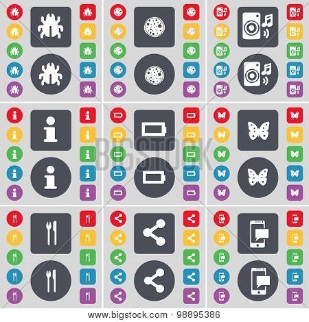 Bug, Pizza, Speaker, Information, Battery, Batterfly, Fork And Knife, Share, Sms Icon Symbol. A Larg