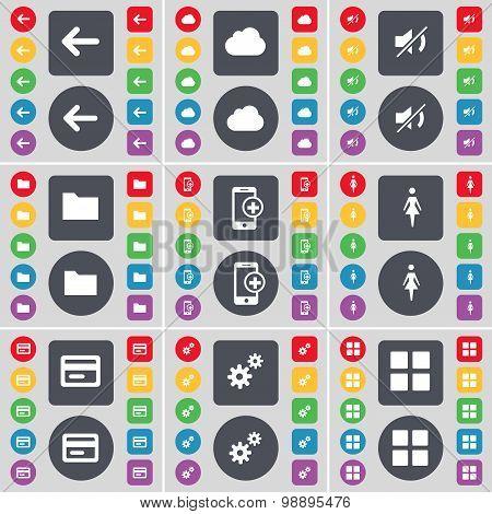 Arrow Left, Cloud, Mute, Folder, Smartphone, Silhouette, Credit Card, Gear, Apps Icon Symbol. A Larg