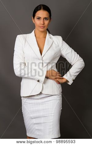 Brunette In A White Business Suit