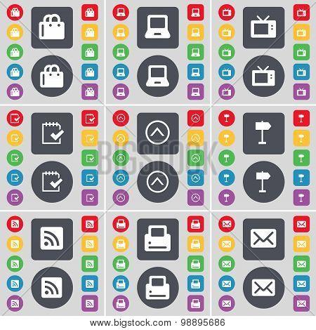Shopping Bag, Laptop, Retro Tv, Survey, Arrow Up, Signpost, Rss, Printer, Message Icon Symbol. A Lar