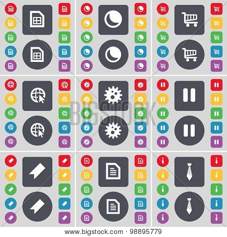 File, Moon, Shopping Cart, Web Cursor, Gear, Pause, Marker, Text File, Tie Icon Symbol. A Large Set