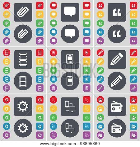 Clip, Chat Bubble, Quotation Mark, Negative Films, Mobile Phone, Pencil, Gear, Connection, Retro Ico