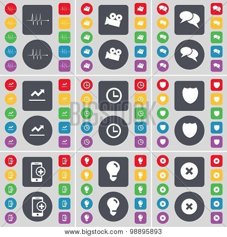 Pulse, Film Camera, Quotation Mark, Graph, Clock, Badge, Smartphone, Light Bulb, Stop Icon Symbol. A