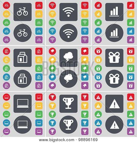 Bicycle, Wi-fi, Diagram, Packing, Lightning, Gift, Laptop, Cup, Warning Icon Symbol. A Large Set Of