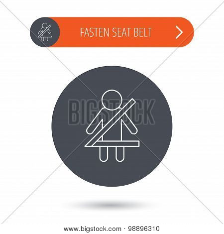 Fasten seat belt icon. Human silhouette sign.