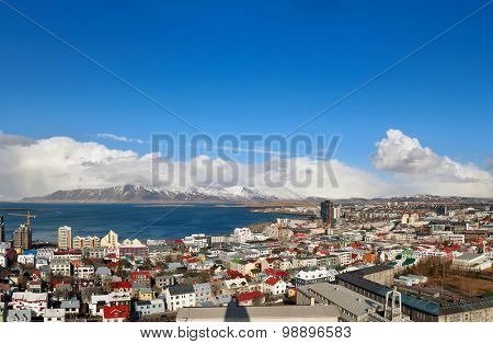 Iceland capital city Reykjavik from above panoramic view