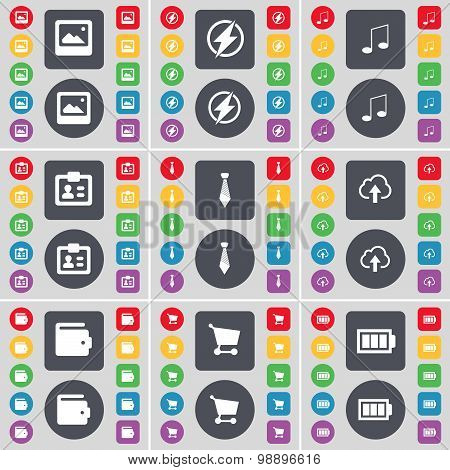 Window, Flash, Note, Contact, Tie, Cloud, Wallet, Shopping Cart, Battery Icon Symbol. A Large Set Of