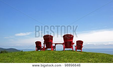 Adirondack Chairs Summer Blue Sky