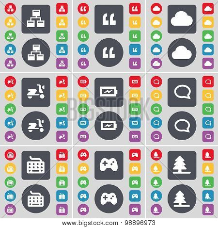 Network, Quotation Mark, Cloud, Scooter, Charging, Chat Bubble, Keyboard, Gamepad, Firtree Icon Symb