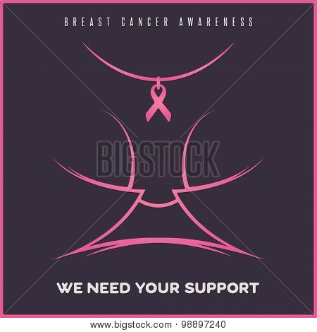 Breast cancer awareness poster on a dark background.