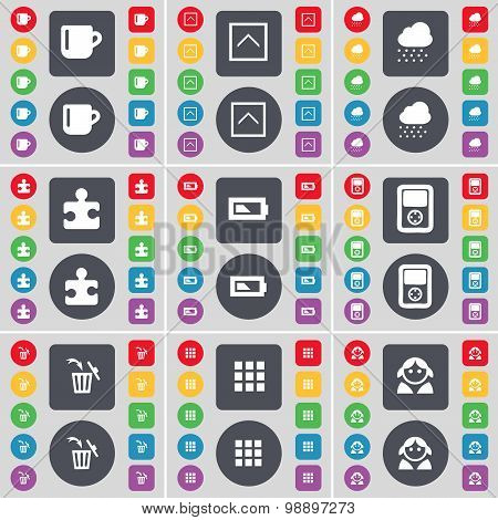 Cup, Arrow Up, Cloud, Puzzle Part, Battery, Player, Trash Can, Apps, Avatar Icon Symbol. A Large Set