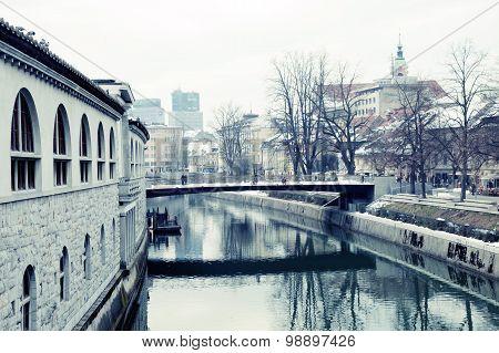 Winter Cityscape With Ljubljana's Marketplace And Ljubljanica River, Ljubljana, Slovenia
