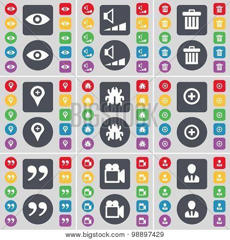 Vision, Volume, Trash Can, Checkpoint, Bug, Plus, Quotation Mark, Film Camera, Avatar Icon Symbol. A