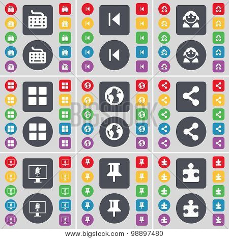 Keyboard, Media Skip, Avatar, Apps, Earth, Share, Monitor, Pin, Puzzle Part Icon Symbol. A Large Set