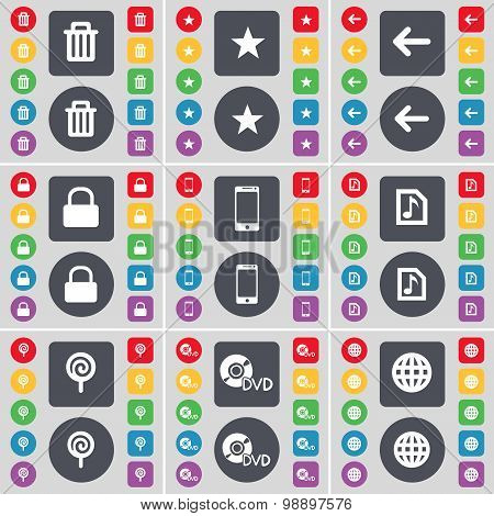 Trash Can, Star, Arrow Left, Lock, Smartphone, Music File, Lollipop, Dvd, Globe Icon Symbol. A Large