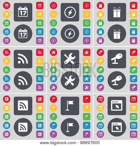 Calendar, Flash, Gift, Rss, Wrench, Microphone, Golf Hole, Window Icon Symbol. A Large Set Of Flat,